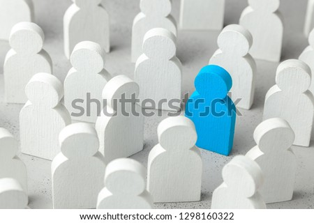 How to choose a leader from the crowd of staff. Lot of people and one special employee. Staff recruitment. Royalty-Free Stock Photo #1298160322