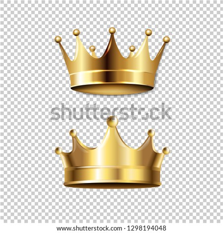 Crown Set Isolated Transparent Background With Gradient Mesh, Vector Illustration