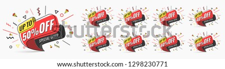 Sale tags set vector badges template, 10 off, 20 %, 90, 80, 30, 40, 50, 60, 70 percent sale label symbols, discount promotion flat icon with long shadow, clearance sale sticker emblem red rosette #1298230771