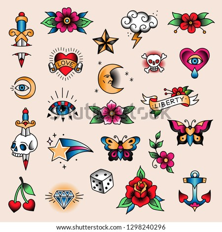 Set of mini color tattoos at traditional vintage style. Small symbols  Royalty-Free Stock Photo #1298240296