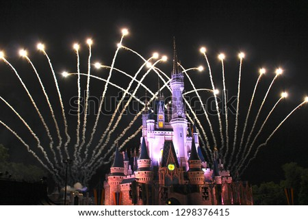 Castle night time projection and fireworks show #1298376415