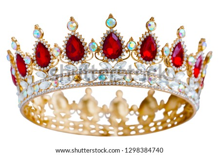 Golden crown with red and white diamonds.  Gold tiara for princess. Expensive jewelry. Decoration for king or queen, magic crown isolated on white background, close up               #1298384740