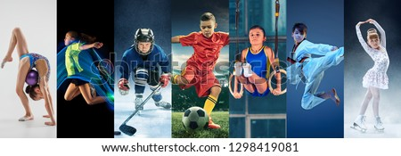 Attack. Sport collage about teen or child athletes or players. The soccer football, badminton, ice hockey, figure skating, karate martial arts, rhythmic gymnastics. Little boys and girls in action or #1298419081
