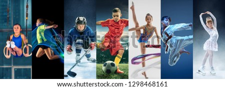 Attack. Sport collage about teen or child athletes or players. The soccer football, badminton, ice hockey, figure skating, karate martial arts, rhythmic gymnastics. Little boys and girls in action or #1298468161