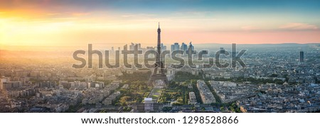 Aerial view of Paris with Eiffel Tower, France #1298528866