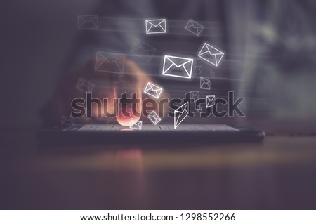Man hand using phone with email icon, Email concept #1298552266