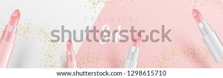 Creative wide sale banner design with 3D style lipsticks, golden glitter and calligraphy. minimal cover design for web, social media, ad, poster for Sale offer and exclusive discount announcement. #1298615710