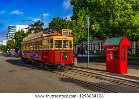 New Zealand, South Island. Christchurch, Canterbury Region. Restored heritage tram at Worcester Boulevard #1298634106