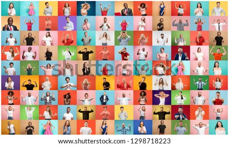 The collage of faces of surprised people on colored backgrounds. Happy men and women smiling. Human emotions, facial expression concept. collage of different human facial expressions, emotions #1298718223