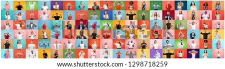 The collage of faces of surprised people on colored backgrounds. Happy men and women smiling. Human emotions, facial expression concept. collage of different human facial expressions, emotions #1298718259
