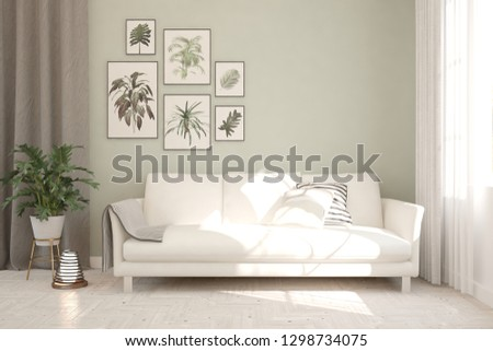 Green stylish minimalist room with sofa. Scandinavian interior design. 3D illustration #1298734075