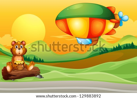 Illustration of a bear near the road and an airship