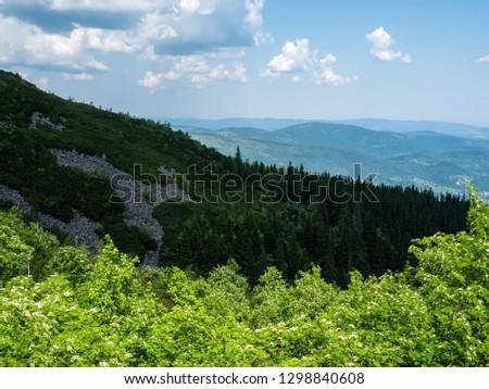 View from Beskid mountains - Poland Babia Gora #1298840608