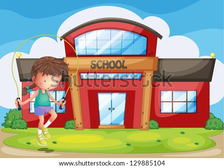 Illustration of a girl playing in front of the school