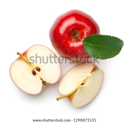 Red apples isolated on white background. Gala apple. Top view #1298871535