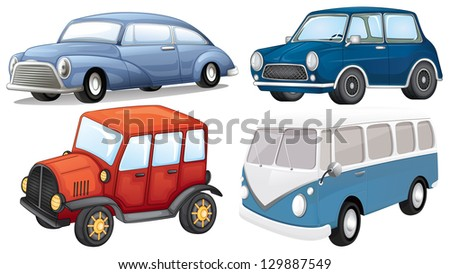 Illustration of a different vehicle styles on a white background