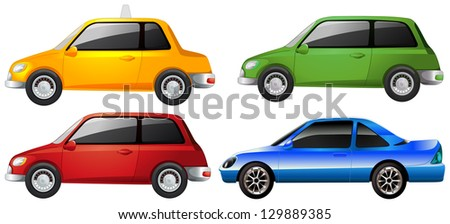 Illustration of the yellow, green, red and the blue car on a white background