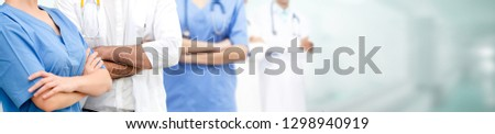 Healthcare people group. Professional doctor working in hospital office or clinic with other doctors, nurse and surgeon. Medical technology research institute and doctor staff service concept. #1298940919