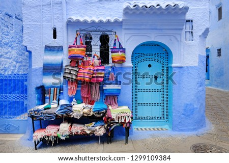 Traditional moroccan architectural details in Chefchaouen Morocco, Africa. Chefchaouen blue city in Morocco. #1299109384