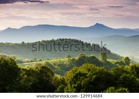Beautiful sunny day is in mountain landscape. Carpathian, Ukraine, Europe. #129914684