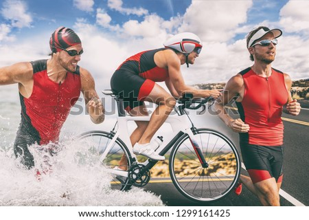Triathlon swim bike run triathlete man training for ironman race concept. Three pictures composite of fitness athlete running, biking, and swimming in ocean. Professional cyclist, runner, swimmer. #1299161425