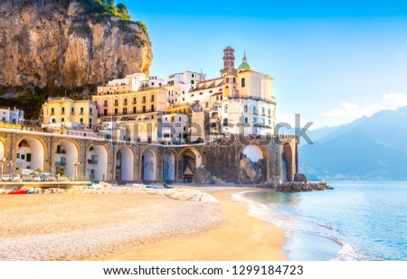 Morning view of Amalfi cityscape on coast line of mediterranean sea, Italy  #1299184723