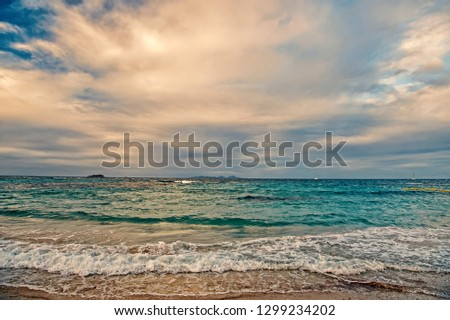 St. Maarten island beach. Caribbean beach. Caribbean sea. Blue water sea. Beautiful caribbean beach. Caribbean island blue water with blue sky #1299234202