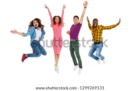 group of cheerful young people men and women multinational isolated on white background #1299269131