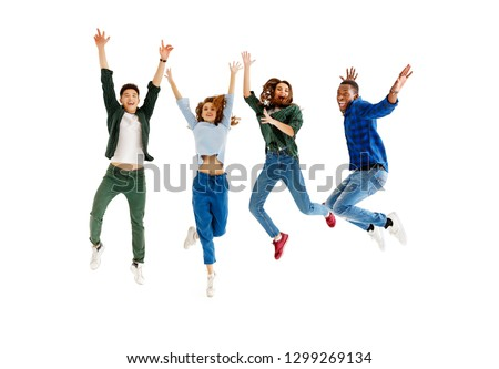 group of cheerful young people men and women multinational isolated on white background #1299269134