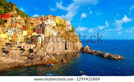 Manarola is a small town of the comune of Riomaggiore, in the province of La Spezia, Liguria, Cinque Terre Coast of northern Italy.  #1299425884