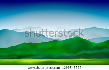 Green mountains hills and meadows landscape. Abstract nature background. Mountain landscape. Vector colorful background #1299543799