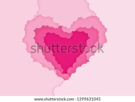 Paper art style of pink clouds form a love heart, Valentine's day concept, Vector illustration #1299631045