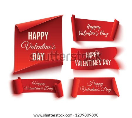 Set of five red, Happy Valentines day, realistic, paper banners. 3D illustration. #1299809890