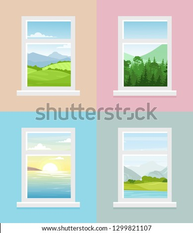 Vector illustration of different window views. Mountains, forest, fields, sea with sunrise window views collection in flat style. #1299821107