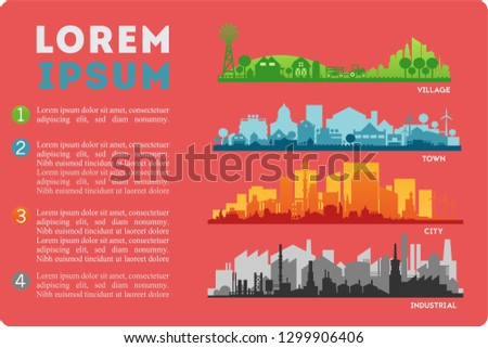 City Skyline Colored Sets, City Districts Banners #1299906406