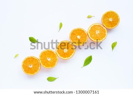 High vitamin C. Fresh orange citrus fruit with leaves isolated on white background. #1300007161