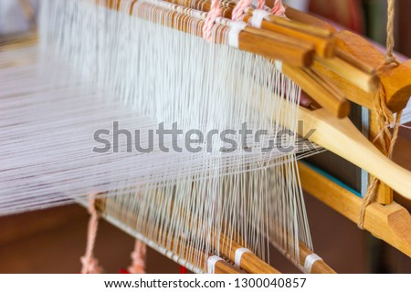 Weaving equipment Household weaving - Detail of weaving loom for homemade silk Used for silk weaving or textile production of Thailand  #1300040857