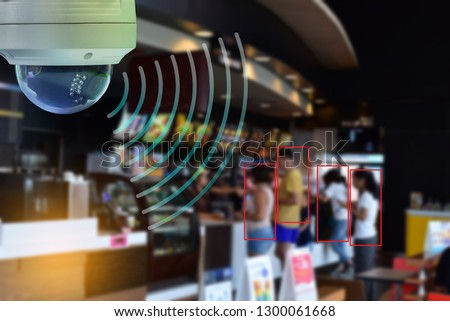 CCTV Dome infrared camera new technology 4.0 signal for Counting number of people in area or counting customer in shop and restaurant simple as in red line are signal of counting by CCTV system. #1300061668
