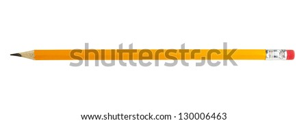 yellow pencil isolated on white Royalty-Free Stock Photo #130006463