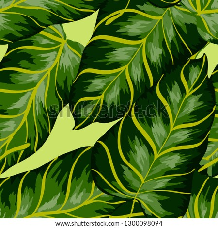 Tropical background with banana leaves. A seamless pattern with tropical leaves. #1300098094