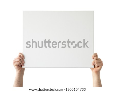 Holding canvas mockup. Photo Mockup. The man hold canvas. For canvas design. Frame size 20x16 (50x40cm). #1300104733