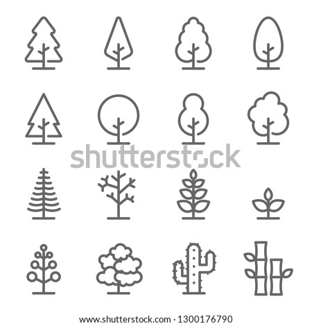 Tree Vector Line Icon Set. Contains such Icons as Wood, Plant, Pine, Cactus, Bamboo and more. Expanded Stroke Royalty-Free Stock Photo #1300176790
