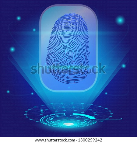 Cyber Security Concept : Fingerprint on interface future technology background. #1300259242