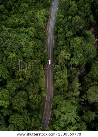 Road through the green forest, aerial view road going through forest. #1300369798
