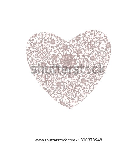 Elegant lace heart with floral elements + Delicate and beautiful design for romantic season #1300378948