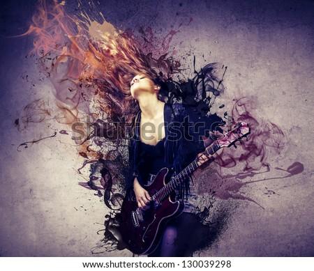 beautiful musician playing guitar