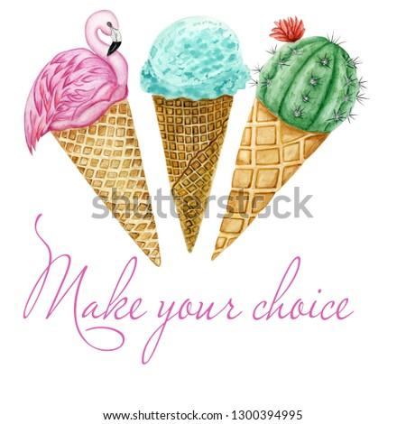 Set of watercolor ice cream