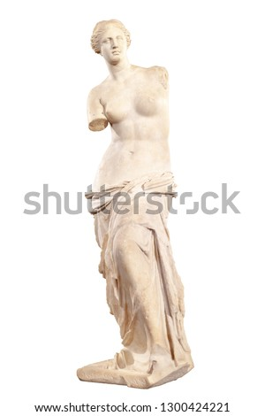 Statue of Aphrodite of Milos or Venus of Milo. Isolated with clipping path.