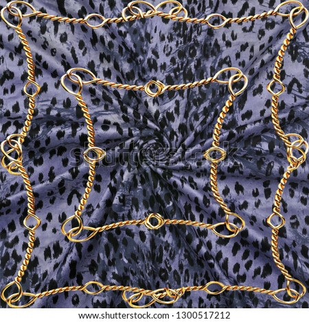 Leopard print and golden chain black background.Seamless pattern.Animal print #1300517212