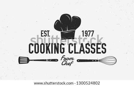 Cooking vintage logo. Cooking Class template logo with spatula and whisk . Modern design poster. Label, badge, poster for food studio, cooking courses, culinary school. Vector illustration #1300524802